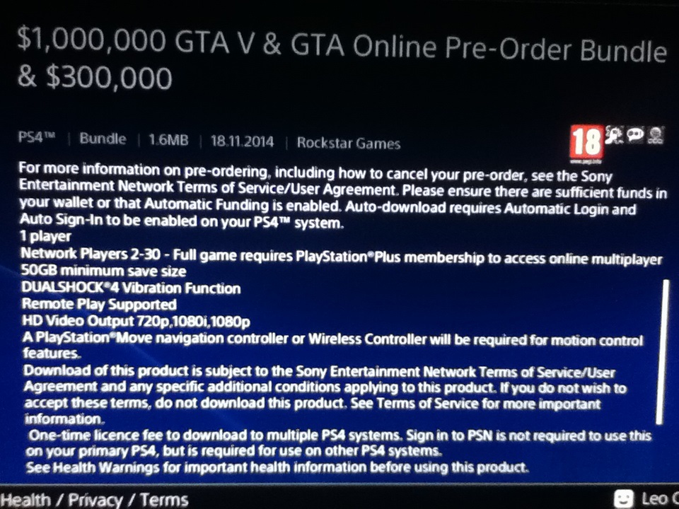 GTA 5 PS4 require 50 gb