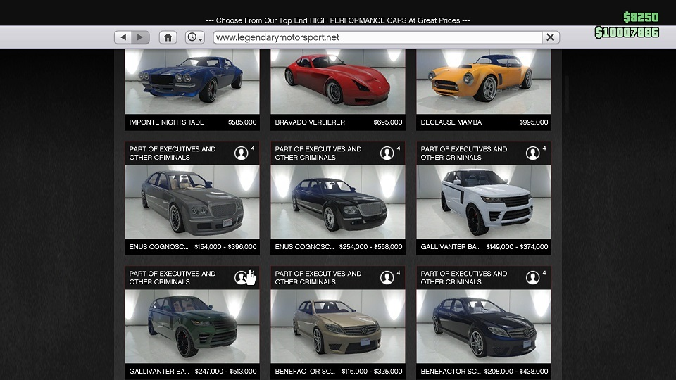 New Cars Price GTA Online Executive and Other Criminals